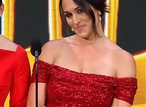 Nikki Bella with Brie Bella at WWE Hall of Fame 2021